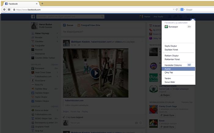 Facebook Videolarının Otomatik Açılmasını Engelleme